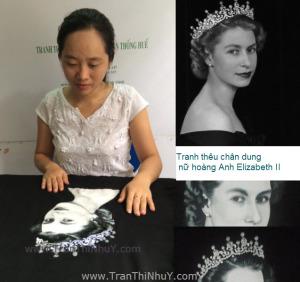 Tranh thêu chân dung Nữ Hoàng ELIZABETH