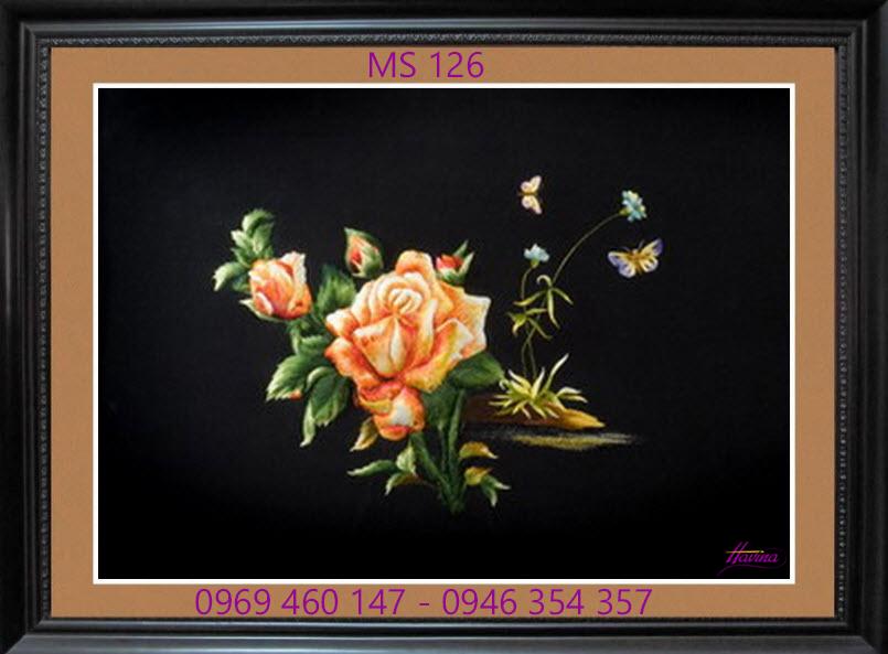 tranh thêu hoa hồng 126