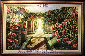 tranh thêu hoa hồng 140