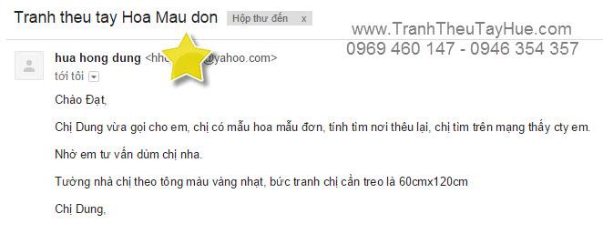 Chị Dung gửi email đến Tranh thêu tay truyền thống Huế