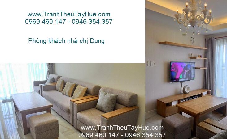 Phòng khách nhà chị Dung ở chung cư HomyLand 2