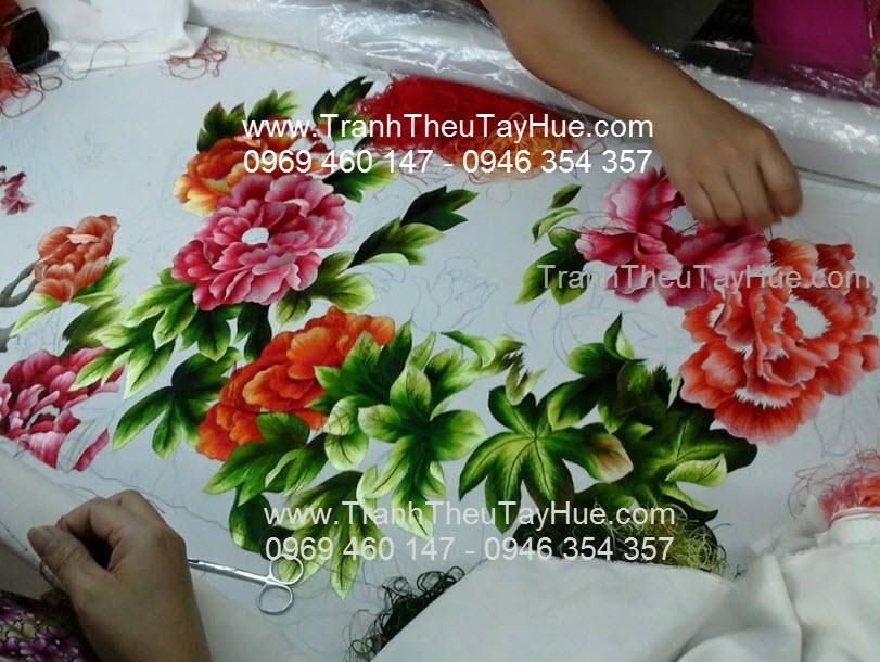 thêu tranh hoa mẫu đơn