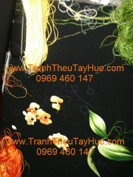 Lên mẫu tranh thêu hoa lan 14 a