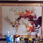 Tranh thêu hoa đào giao đến chị Nhàn quận Tân Phú