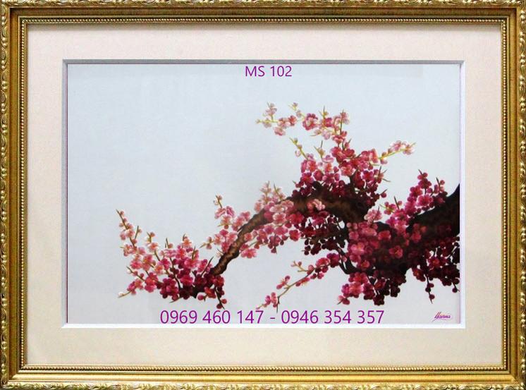 tranh thêu hoa đào 102