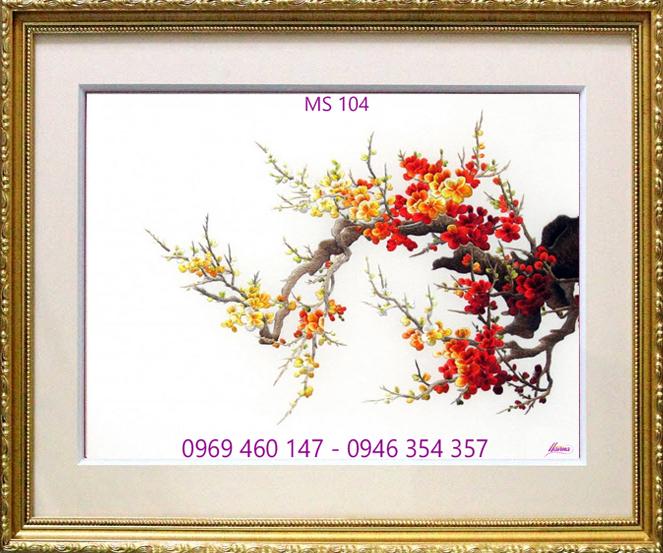tranh thêu hoa đào 104