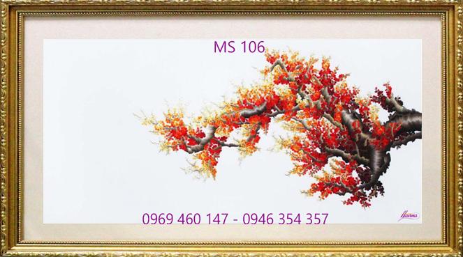 tranh thêu hoa đào 106