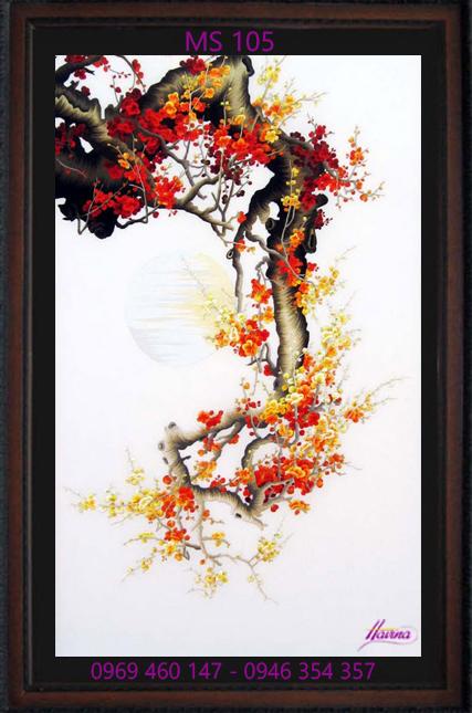 tranh thêu hoa đào 105