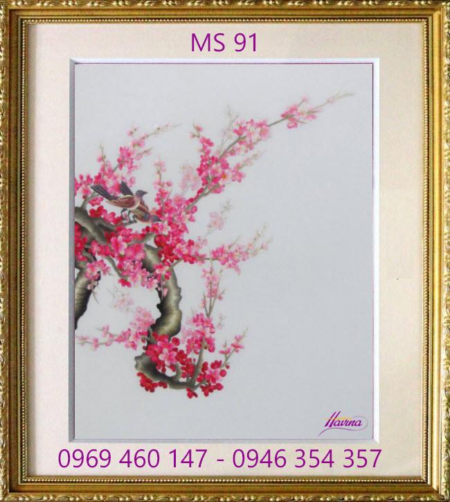 tranh thêu hoa đào 91