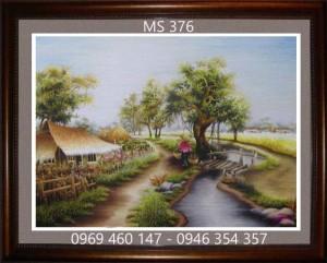 tranh thêu phong cảnh làng quê 376