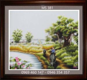 tranh thêu phong cảnh làng quê 381