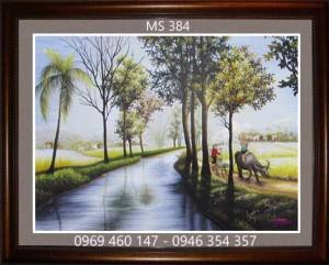 tranh thêu phong cảnh làng quê 384