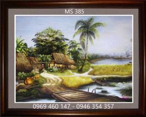 tranh thêu phong cảnh làng quê 385