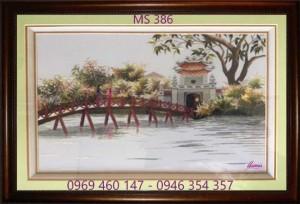 tranh thêu phong cảnh làng quê 386