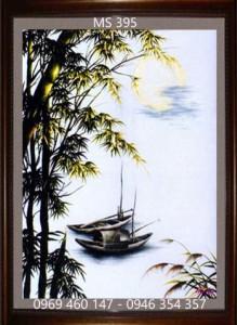 tranh thêu phong cảnh làng quê 395