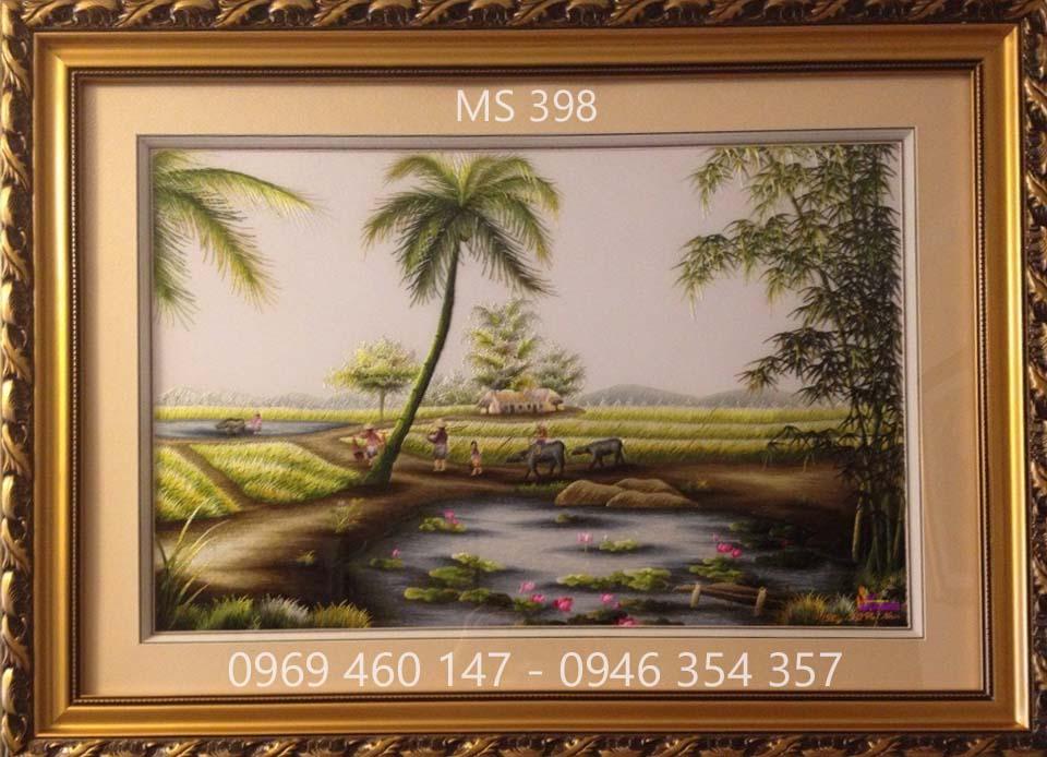 tranh thêu phong cảnh làng quê 398