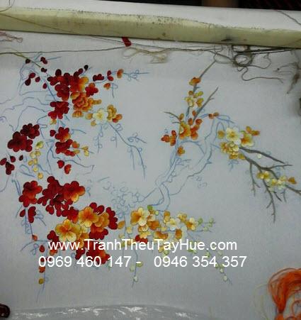 tranh thêu hoa đào