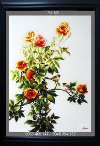 Tranh thêu hoa hồng MS 120