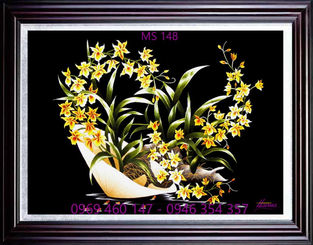 Tranh thêu hoa lan mã số 148