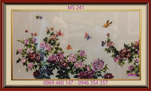 Tranh thêu hoa mẫu đơn mã số 241