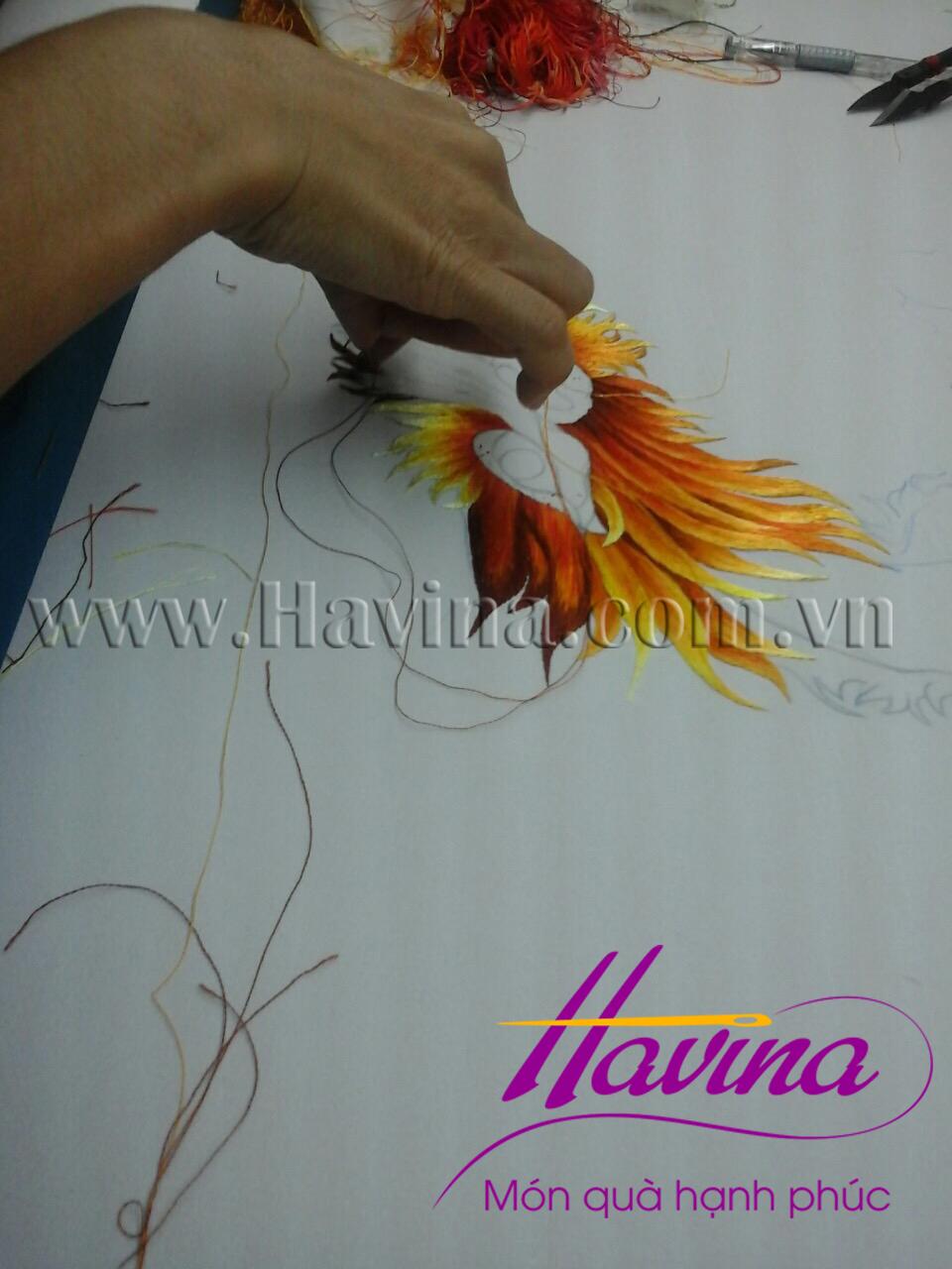 tranh thêu cá chép hoa sen 08