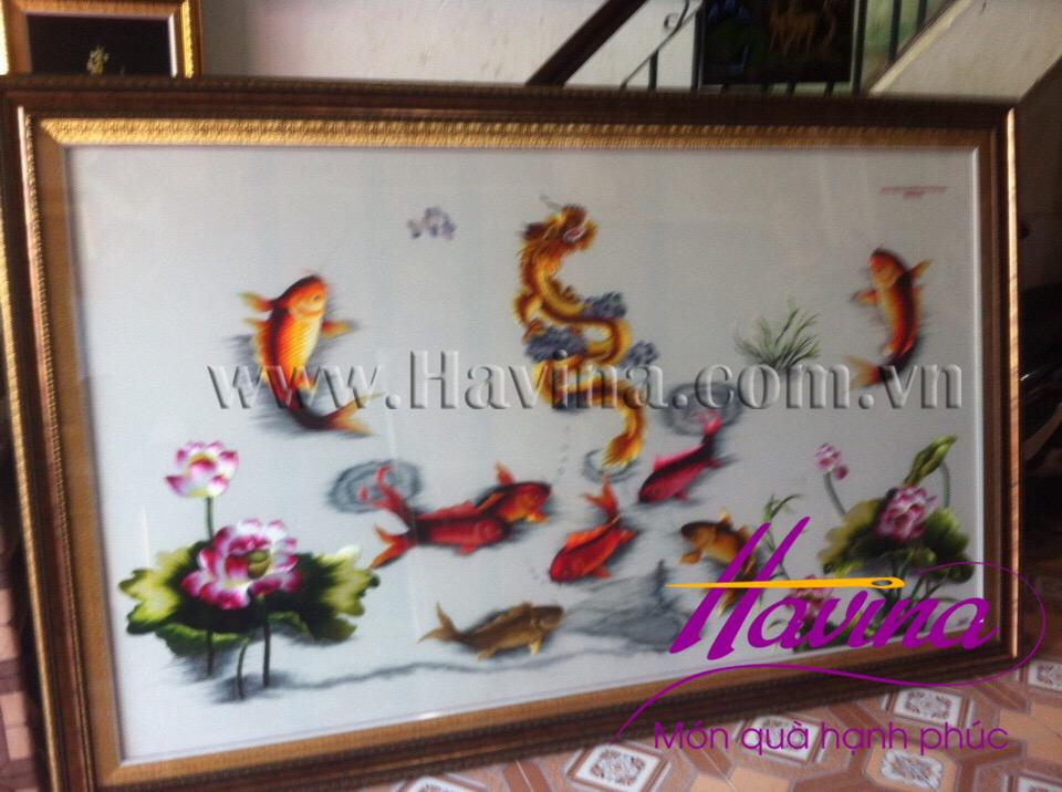 tranh thêu cá chép hóa rồng
