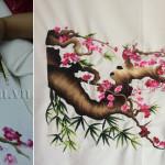 Tranh thêu hoa đào món quà đặc biệt tặng bạn ở Úc