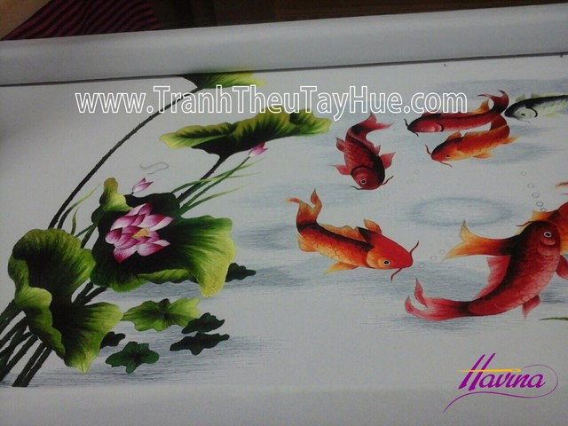 tranh thêu cá chép hoa sen