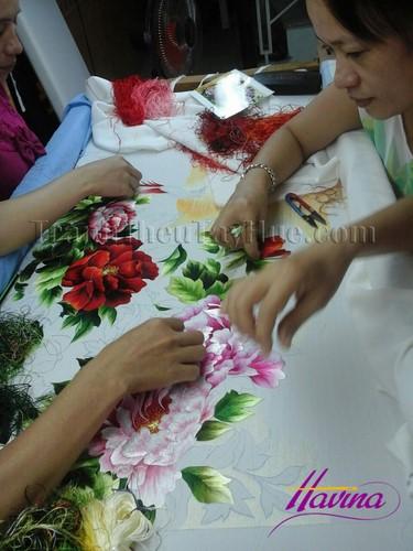 Tranh thêu hoa mẫu đơn mã số 325 theo yêu cầu chị Hà, Hà Nội