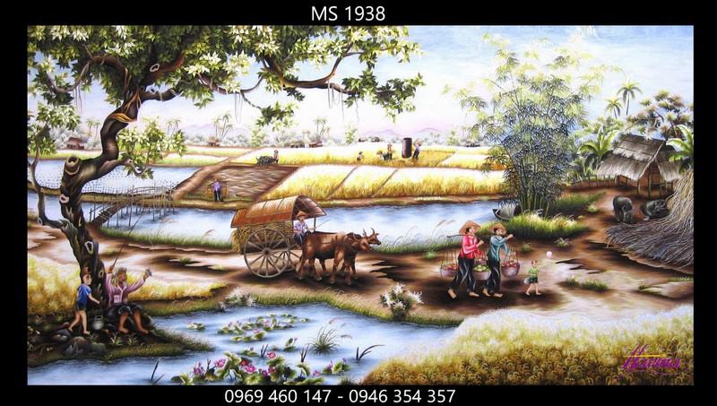Tranh thêu phong cảnh làng quê ms 1938