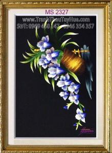 Tranh thêu hoa lan tím