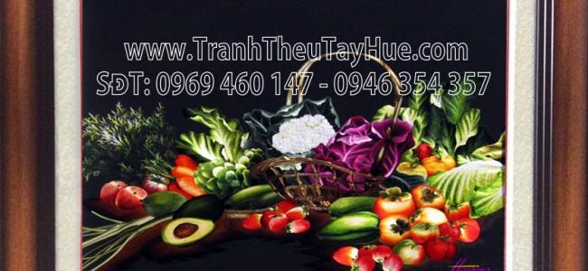 tranh thêu hoa quả