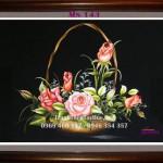 Trao tận tay chú An bức tranh thêu hoa hồng mã số 143