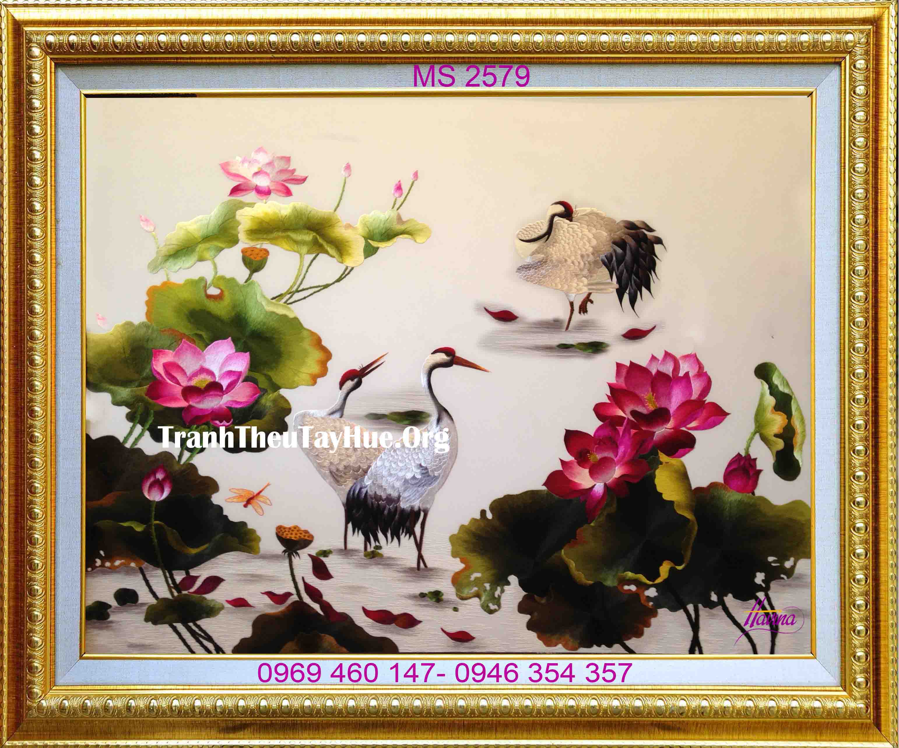 tranh thêu chim hạc hoa sen