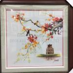 Chị Hương rất hài lòng với bức tranh thêu phong cảnh làng quê ms 448 của tranh thêu tay Huế
