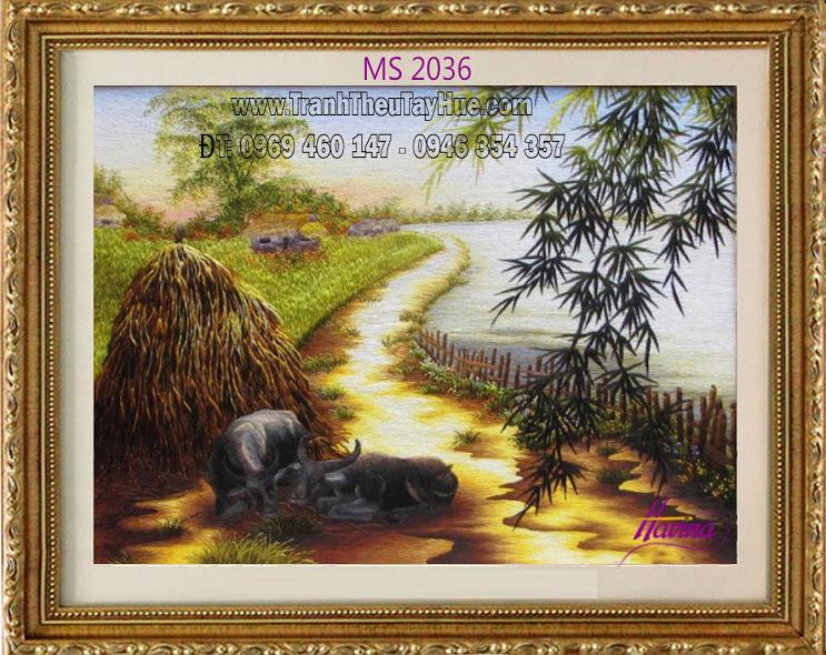 tranh thêu phong cảnh làng quê