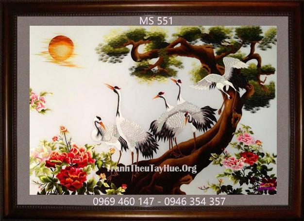 tranh thêu Tùng hạc diên niên