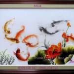 Sức hấp dẫn khó cưỡng lại từ bức tranh thêu cá chép hoa sen MS 04
