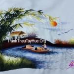 Tranh thêu phong cảnh làng quê – Món quà chị Ái ( Toyota Trần Hưng Đạo) làm quà tặng đối tác