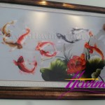 Hoàn thiện tranh thêu cá chép hoa sen ms 04 cho anh Hùng ở Hà Nội