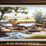 Tranh thêu đồng quê – tranh thêu phong cảnh quê hương giá bao nhiêu?
