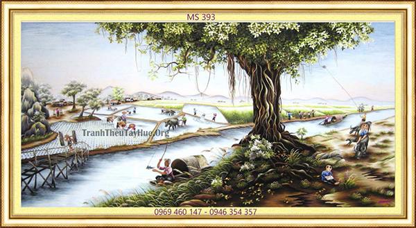 tranh thêu đồng quê