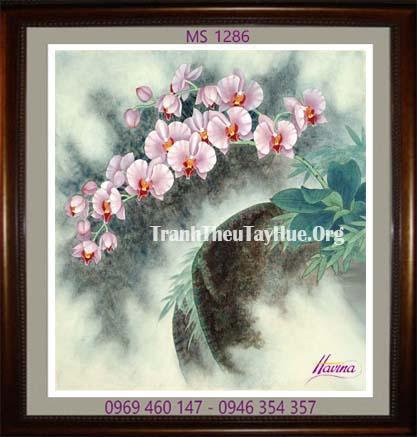 tranh theu hoa lan