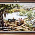 Chị Hồng Thủy tiếp tục tin tưởng và ủng hộ Tranh thêu tay Huế với bức tranh thêu phong cảnh làng quê ms 420