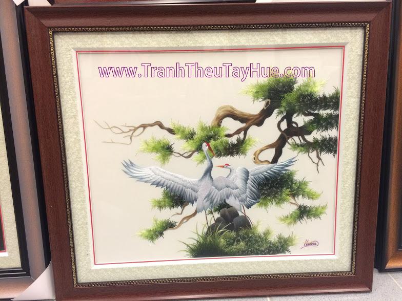 tranh thêu chim hạc