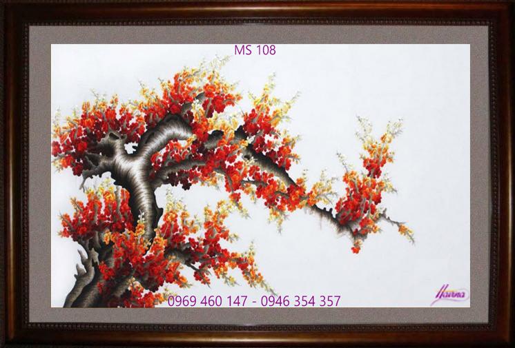 tranh thêu hoa đào 108