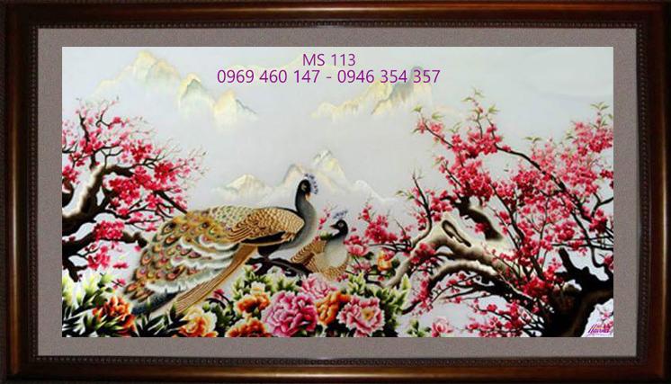 tranh thêu hoa đào 113