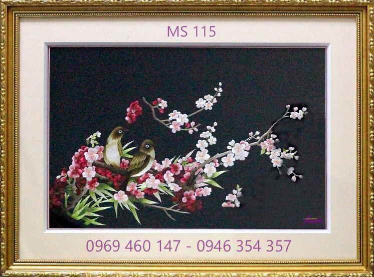 tranh thêu hoa đào 115