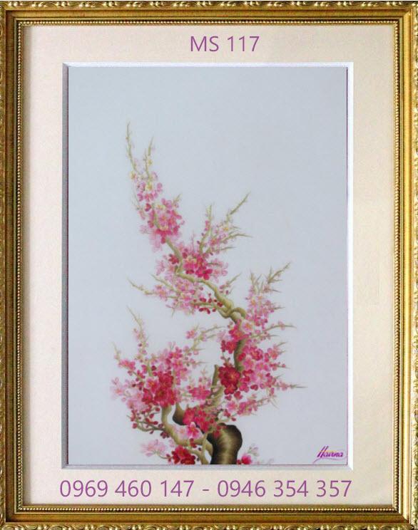 tranh thêu hoa đào 117