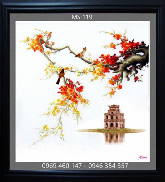 tranh thêu hoa đào 119